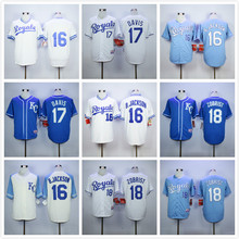 16 Bo Jackson 18 Ben Zobrist Throwback Jersey blue gray white(China (Mainland))
