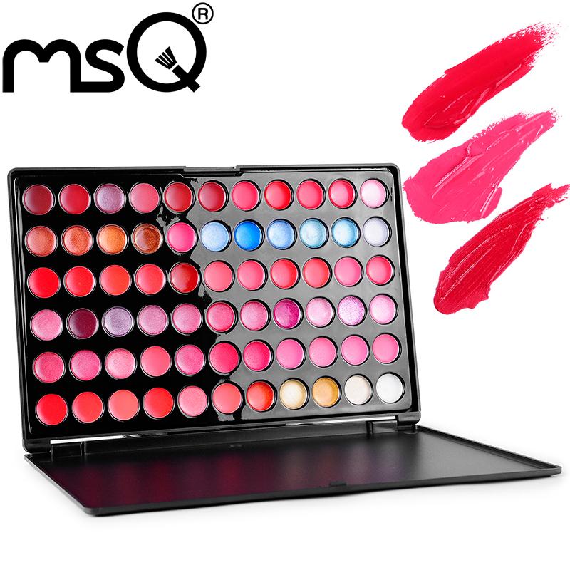 Wholesale 5pcs/set MSQ Professional 66 Colors Lip Gloss Palette High Quality Multi-colors Lipstick Makeup(China (Mainland))