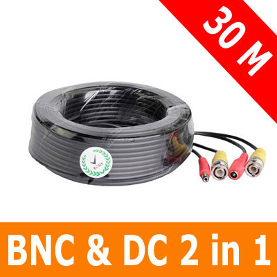 98Ft/30M CCTV BNC Video Power 2 in 1 Cable for Security Camera DVR(China (Mainland))