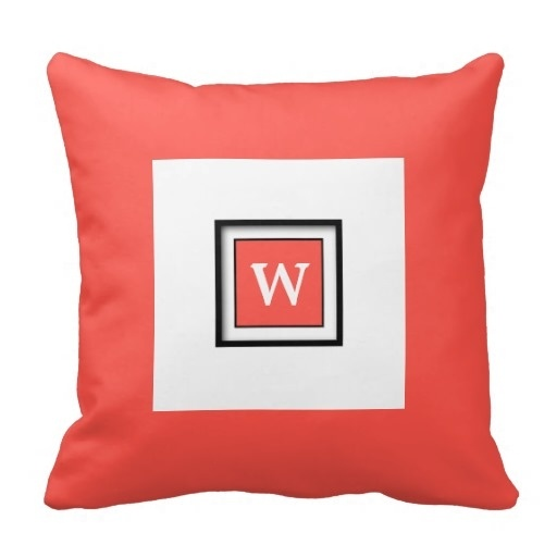 Office Cushion Red Orange Monogams Classy Throw Pillow Case (Size: 20