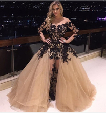 2016 New Special Prom Dresses Sheer Long Sleeve Lace Appliques Tulle Sexy Formal Party Dress Evening Gowns Removable Train EV60(China (Mainland))