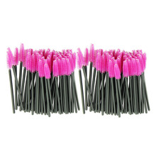 100pcs lot Hot Pink Synthetic Fiber One Off Disposable Eyelash Brush Mascara Applicator Wand Cosmetic Makeup