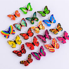 Pegatinas de pared de mariposa brillante pegatinas LED muraux para enfants chambres papillon decoración 3D en el hogar sala de estar # TX(China)