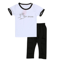 Boys Summer Cotton Clothes Sets OK Printed Cute T-shirts+ Pants Kids Pajama Clothing Set Baby JLU551(China (Mainland))