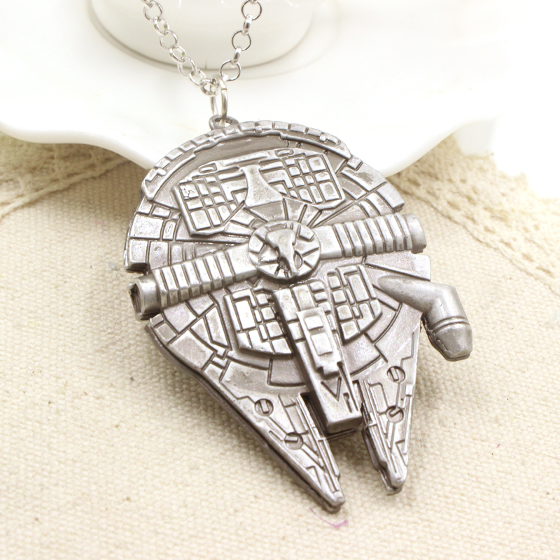 Europe American Hot Movie Star Wars Millennium Falcon Necklace Fashion Jewelry Metal Pendant Necklace For Fans Wholesale 1pc(China (Mainland))
