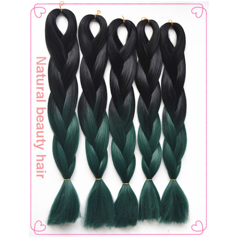 Free Shipping!Ombre xpression jumbo braiding hair 24  synthetic ombre black&amp;emerald high temperature fiber jumbo braid hair <br><br>Aliexpress