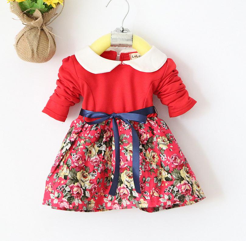 High Quality Children's Clothing Girls Flower Long Sleeve ...