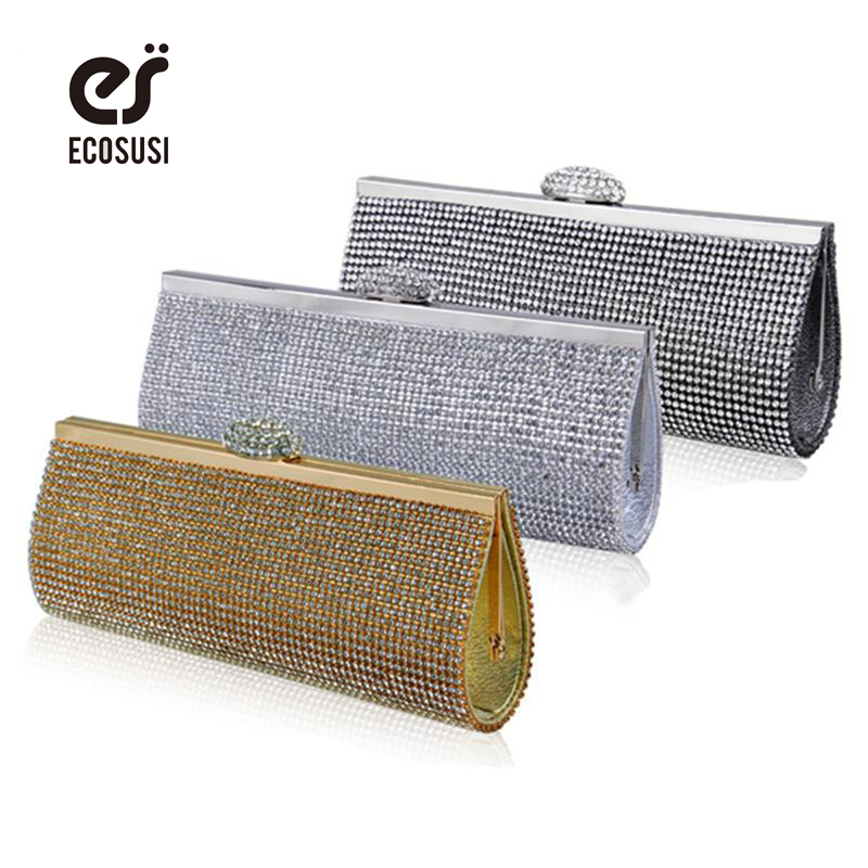Ecosusi Sophisticated Crystals Evening Bag Rhinestones Clasp Flap Women Clutch Bags Baguette Wallets Party Bag(China (Mainland))