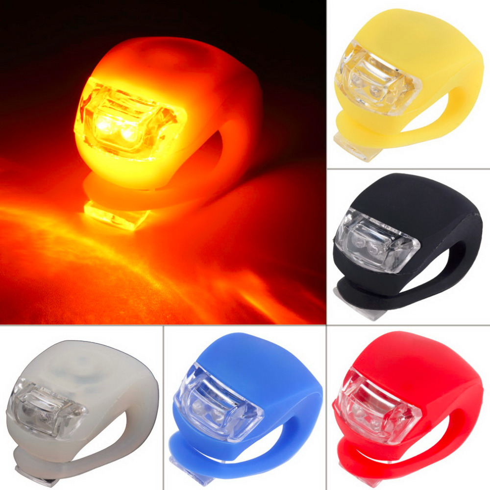 1 pc Wholesale Silicone Bike Bicycle Cycling Head Front Rear Wheel LED Flash Light Lamp free shipping Hot Selling(China (Mainland))