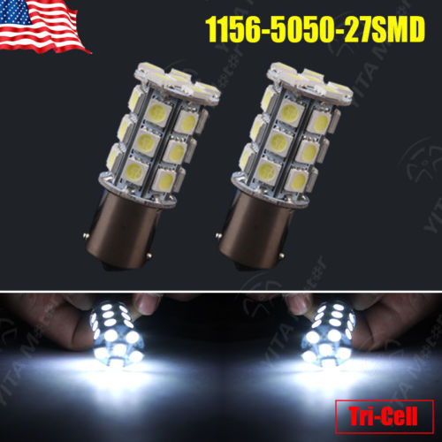 Free Shipping led Car Lights 2Pcs Cool White 1156 BA15S 27-SMD 5050 LED Light bulbs Interior Backup Reverse 7506 1141 for Ford(China (Mainland))