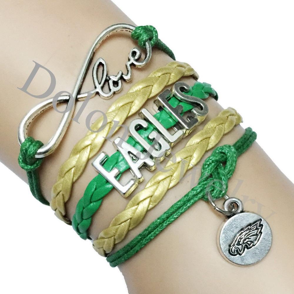 Philadelphia Eagles Green Leather Football Bracelet