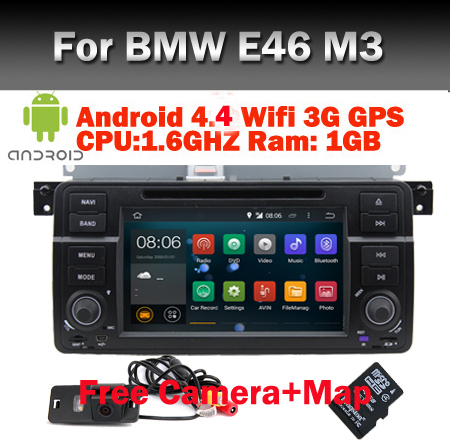 Free Camera+Map 1024X600 Quad Core Car DVD Android 5.1 for BMW E46 GPS M3 Wifi 3G Bluetooth Radio RDS Canbus Support OBD2 DVR(China (Mainland))