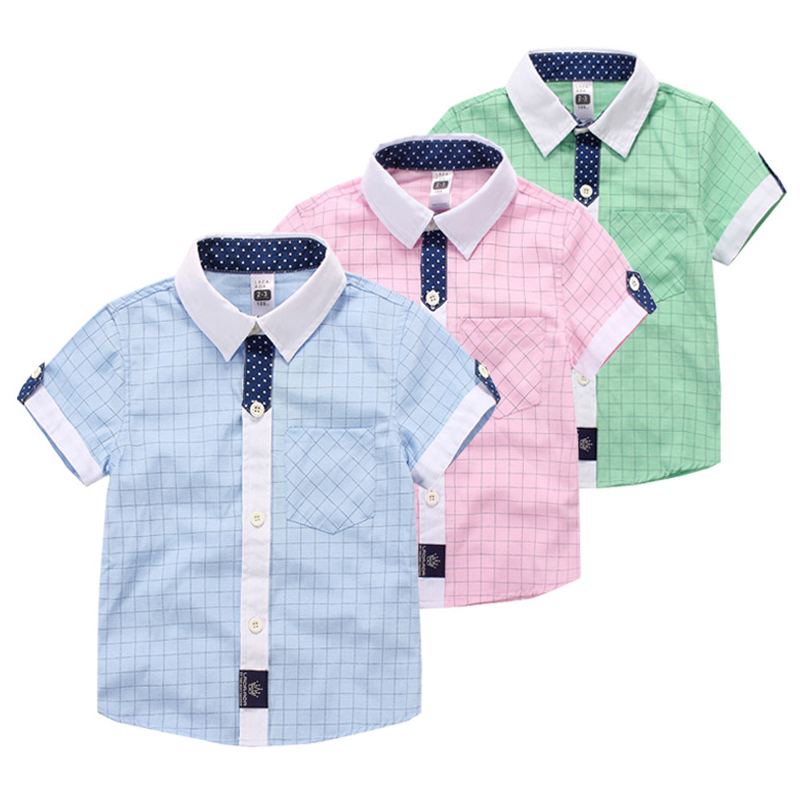 Baby 3-12 years old short-sleeve shirtsummer male children's child clothing plaid Classic short-sleeved cotton shirt