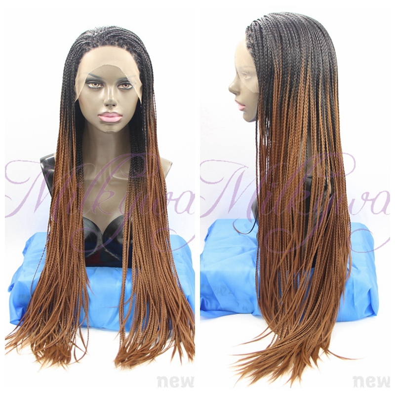 free shipping 1b and brown Braided Lace Front Wigs Long For Black grey Women Hand Braided Synthetic Hair Micro Braided Wigs<br><br>Aliexpress