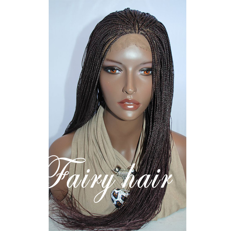 Braided Lace Front Wig Micro Braid Color 99J Synthetic lace front Hand Braided wig short thin synthetic braided lace front wig<br><br>Aliexpress
