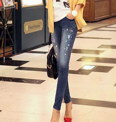 New ripped women jeans long skinny denim pants diamonds rhinestones jeans with holes pencil pants stretch lady jeans for female(China (Mainland))