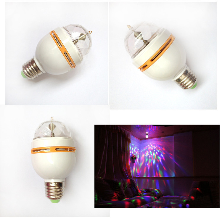 one pcs Rotative Stage lights Full Color 3W E27 RGB LED Crystal Stage Light Rotating DJ Light Disco light Bulb Lamp(China (Mainland))