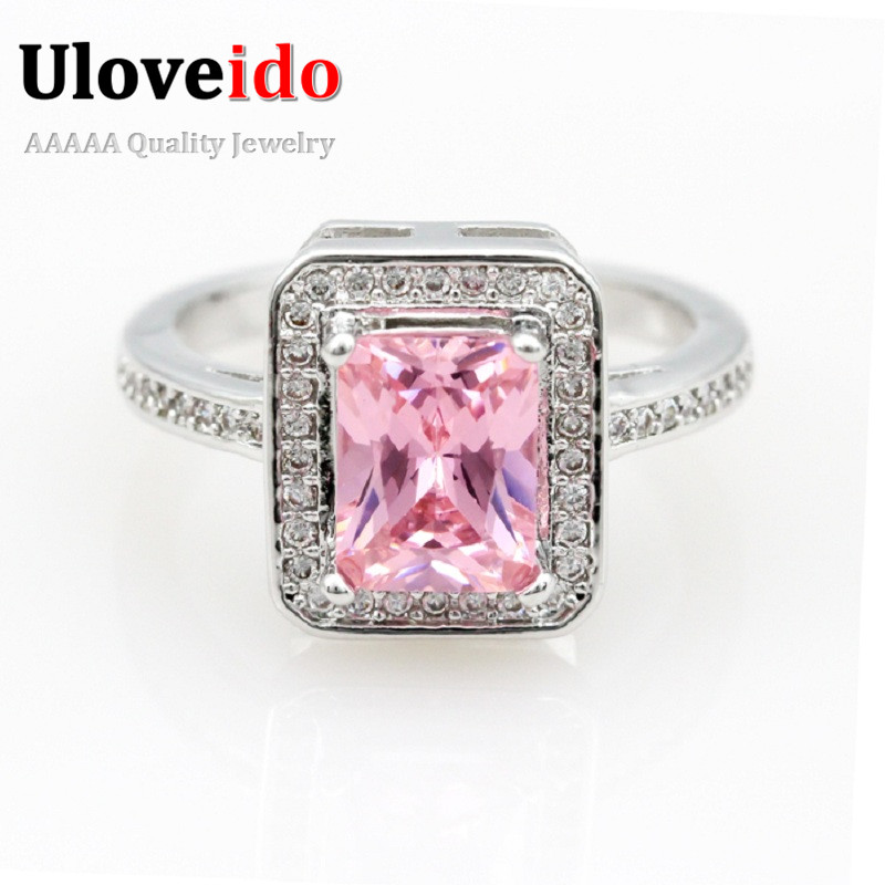 50% off Cheap Pink Square Stone Wedding Emerald Ring Silver Topaz Coated with
