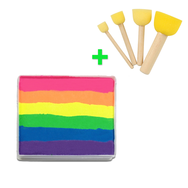 [Buy Together,Cheaper Price] 50g Neon Rainbow Face Paint + 4pcs Sponges Brush Stamp Professional Face Painting Body Paint Makeup(China (Mainland))