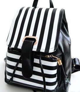 Noir et blanc rayures double épaule sac à dos han édition pu en cuir femme étudiants du collège vent sac loisirs voyage sac(China (Mainland))