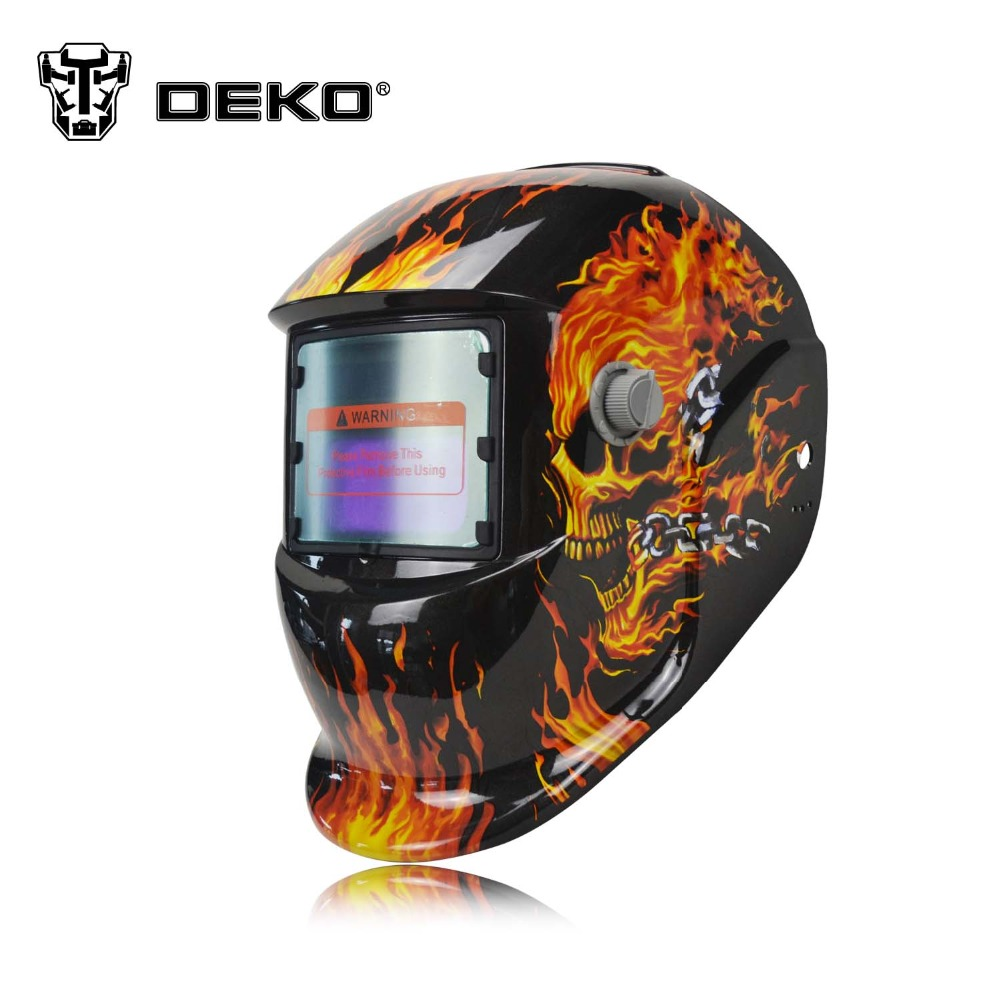 DEKO Skull Solar Auto Darkening MIG MMA Electric Welding Mask/Helmet/welder Cap/Welding Lens for Welding Machine(China (Mainland))