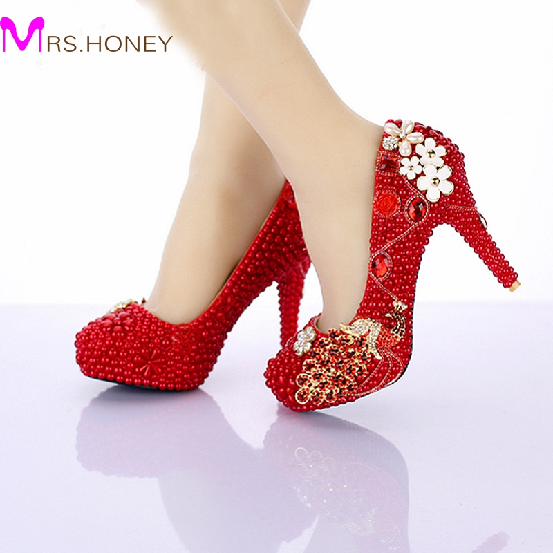 Red Pearl Bridal Shoes 2016 New Design Phoneix Girl Wedding Shoes 4 Inch High Heel Anniversary Party Pumps Birthday Party Shoes(China (Mainland))