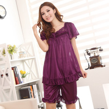 Free shipping 2015 summer Sexy Lingerie suits, the new woman silk pajamas seven colors