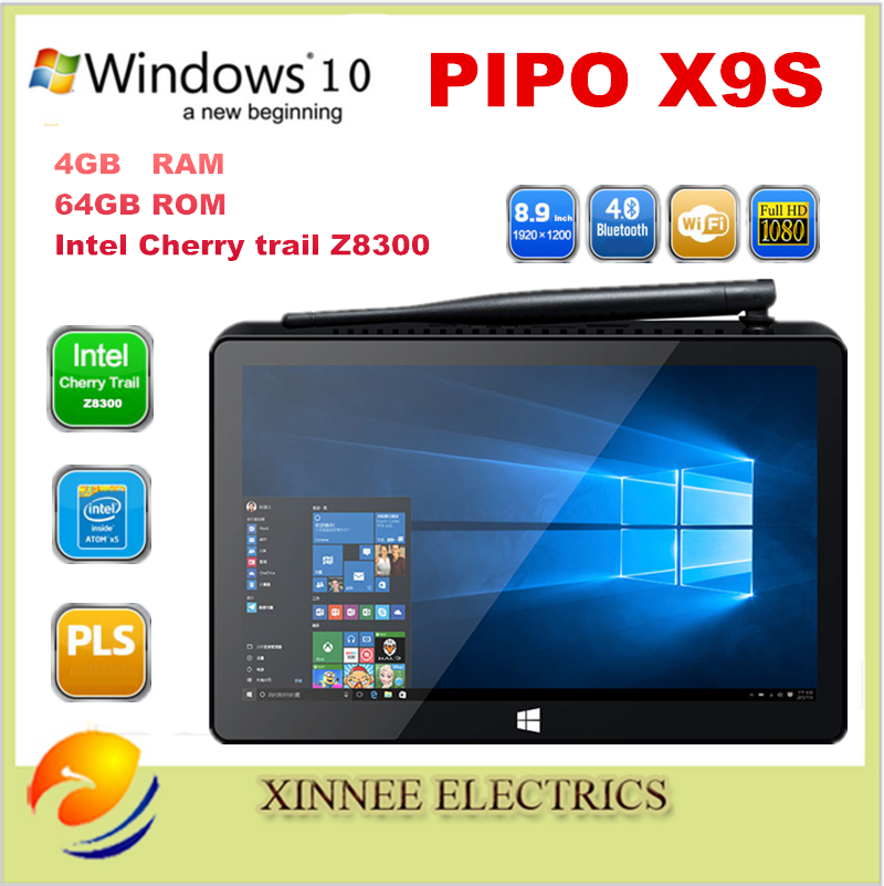 PIPO X9S Mini PC ,Intel Cherry trail Z8300 Quad Core Windows 10 OS 1920 * 1200 8.9 inch Touch Screen BT4.0 4G+64G Tablet(China (Mainland))