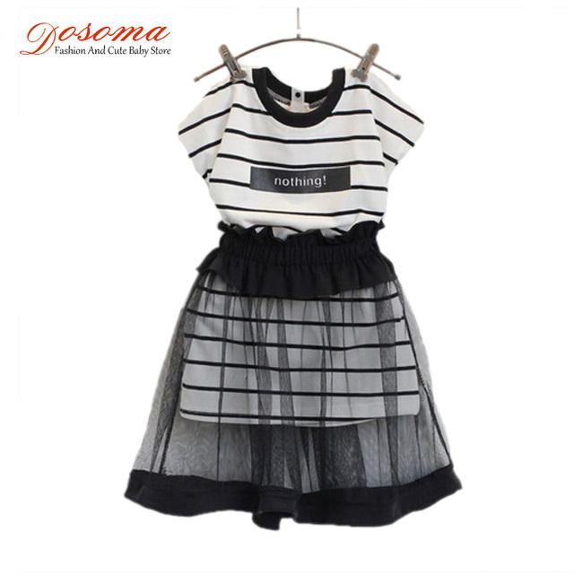 Розничная девушки одежда комплект лето стиль 2016 корейский мода полосатый с коротким ...