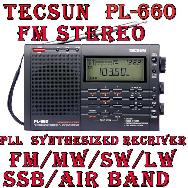 Free Shipping TECSUN PL-660 FM Stereo LW MW SW SSB AIR PLL SYNTHESIZED Radio(China (Mainland))