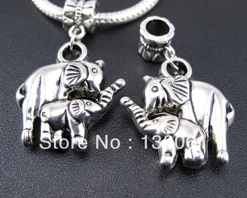 Wholesale Fashion Antique Silver Vintage Charms Mother &Son Elephant Pendants DIY Jewelry Making  Free Shipping  50pcs Z267