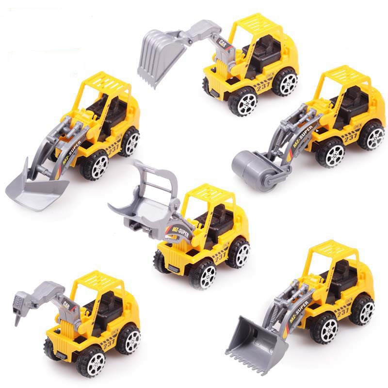 Free Shipping 6pcs/Lot Yellow Color Toy Truck Models Mini Toys Construction Trucks For Kids Children Play Gift Car Styling(China (Mainland))