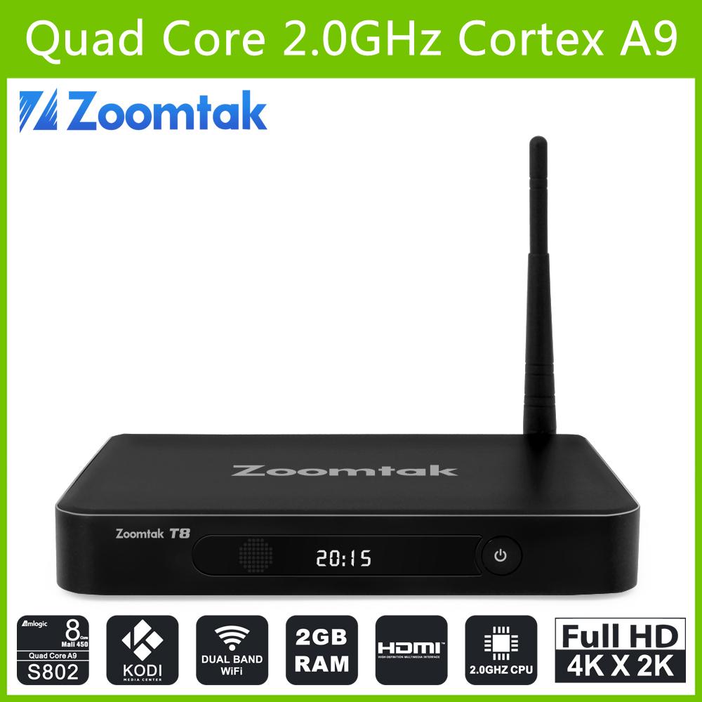Kodi 14.2 Fully Loaded 4K2K Amlogic S802 Quad Core Google Android 4.4 TV BOX Zoomtak T8 Android TV Box(China (Mainland))
