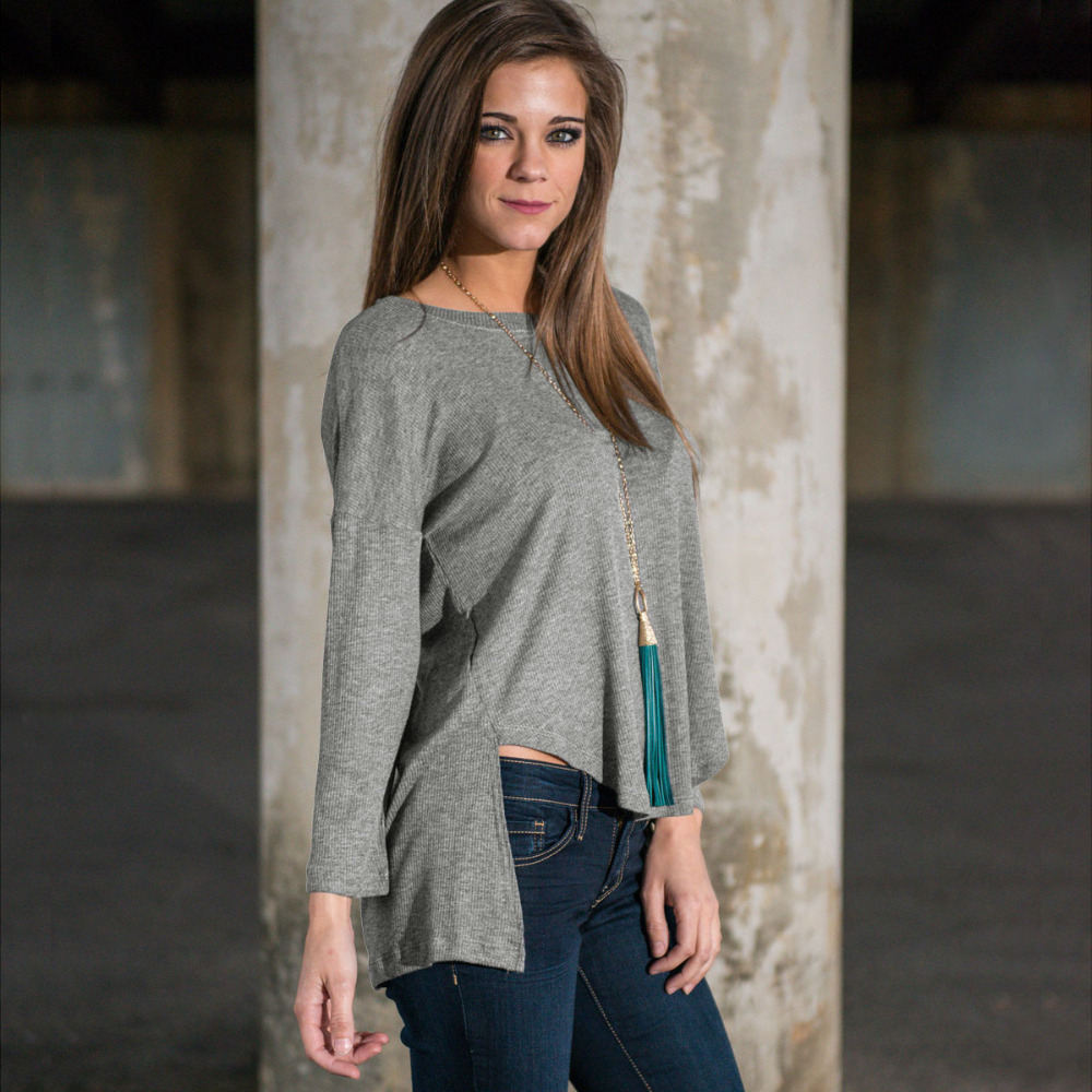 Grey women t shirt short front long back cotton soft for Soft cotton long sleeve shirts