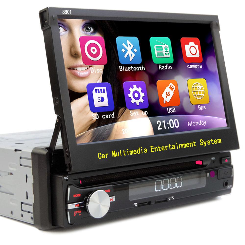 HOT Universal Car Radio 1 Din DVD player GPS navigation Automatic telescopic screen DVD 1DIN CD BT MAP SD USB Free shipping(China (Mainland))