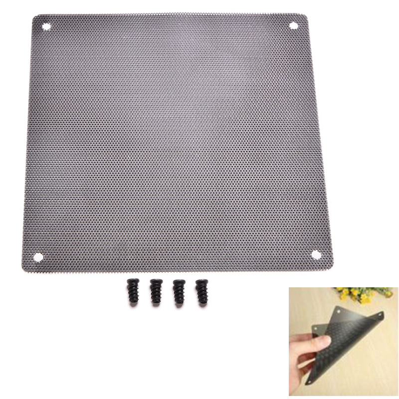 1PC 14cm x 14cm Cuttable Computer Cooling Fan Filter 140mm PC Fan Case Dust Filter Strainer Dustproof Mesh with 4pcs Screw(China (Mainland))