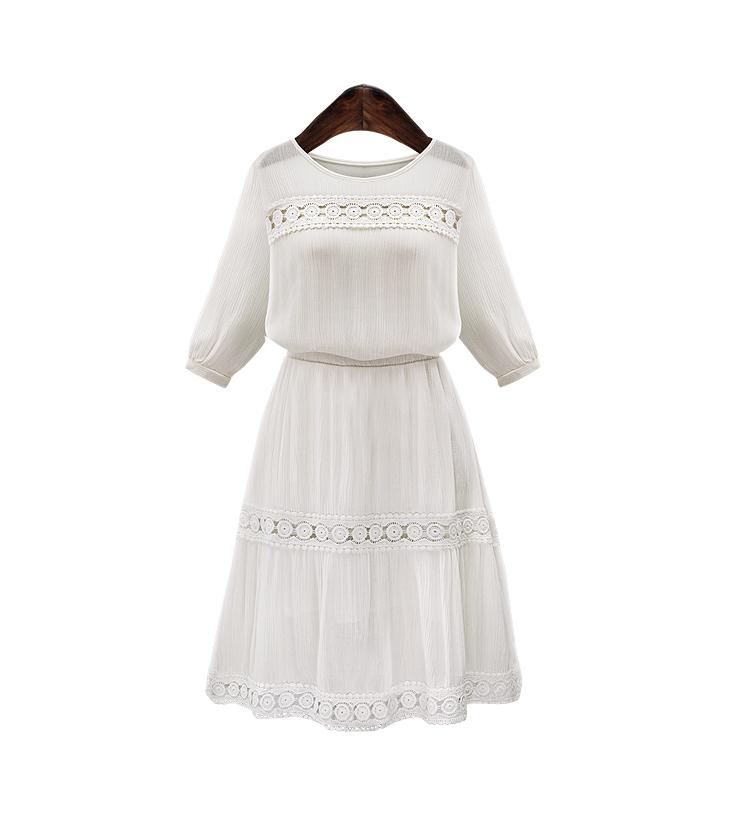 Hosale 2015 Summer/Fall style Women Dress Casual Chiffon Solid O-neck Dresses Cute A-line Linen Vestidos Quarter Sleeve(China (Mainland))