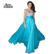 ANN DEER S108 Sexy Backless Deep V-Neck Chiffon Beaded Long Prom Dresses 2016 A-Line Prom Gown Formal Party Dress Robe De Soiree(China (Mainland))