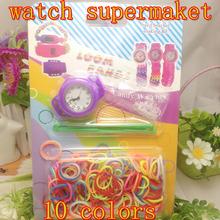2015 nuevos niños de educación de bricolaje accesorios bandas del arco iris de punto con juego de reloj