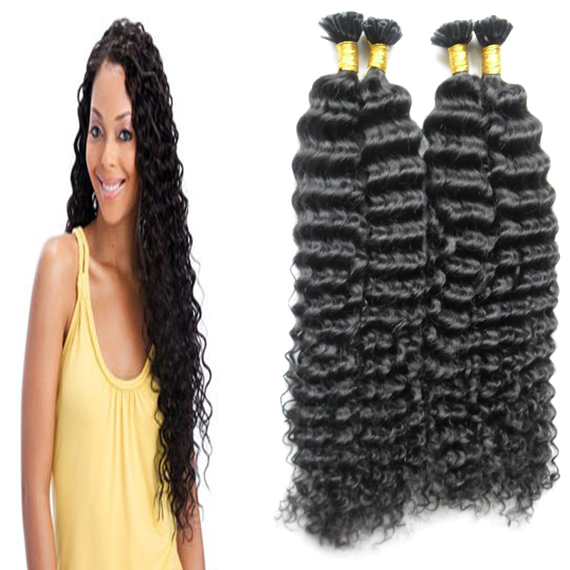 Nail Tip U tip Hair Extensions 1g/s 100% Real Hair 200g Grade 6a Natural Black Brazilian Kinky Curly Hair Fusion Hair Extensions