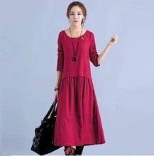 2016 Women spring dresses long sleeve Vintage casual cotton and linen temperament elegant red dress loose Vestidos femininos(China (Mainland))