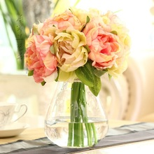 Hot sell 10 heads bride bouquet wedding flowers peony rsoe silk flower artificial flower for home decoration table flowers(China (Mainland))