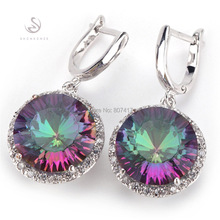 Fashion Romantic Rainbow Mystic Topaz stone Silver Plated Promotion Recommend Hot Favourite Time limited discount Earrings E737(China (Mainland))