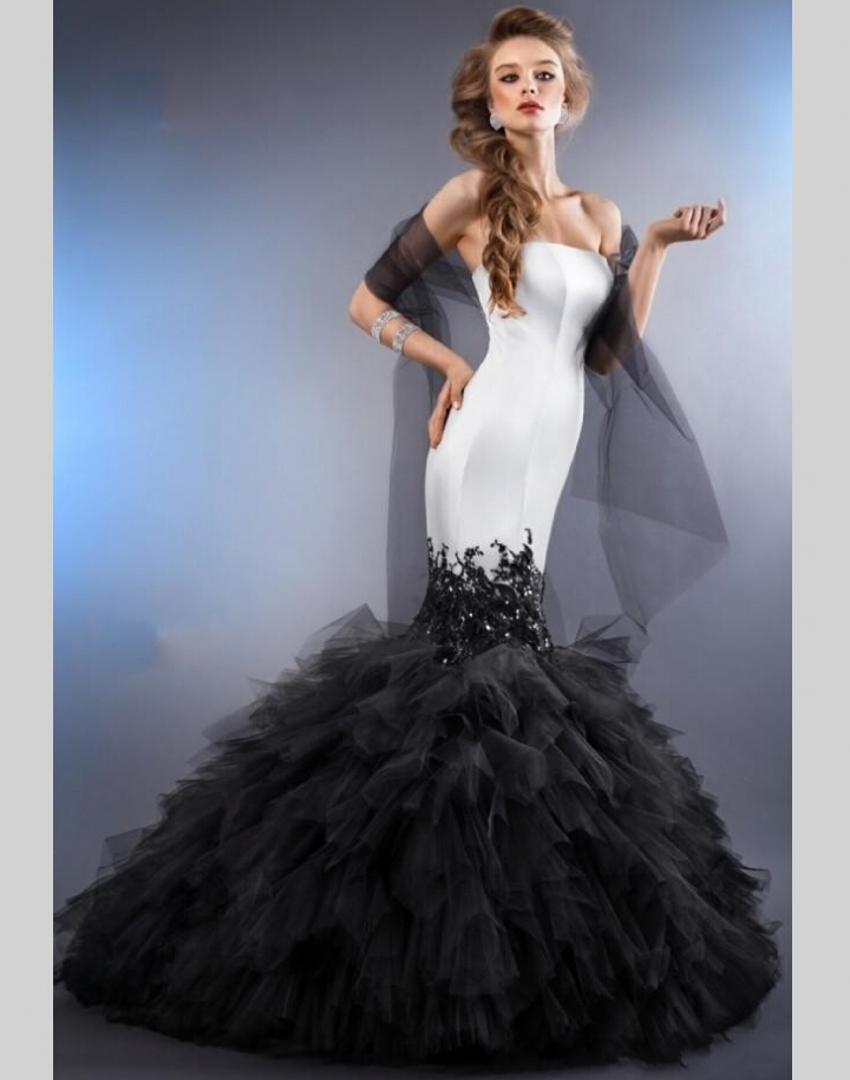 2015 sexy black and white mermaid wedding dresses china for Wedding dresses in china