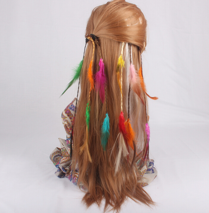 2015 wholesale long feather colorful hair clip hairpin headband feathers tassel hair accessories for girl kids christmas gift(China (Mainland))