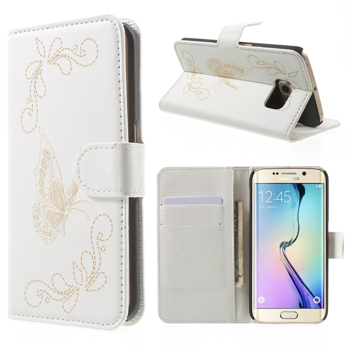 For Galaxy S6 Edge Case Laser Carving Butterfly Leather Case for Samsung Galaxy S6 Edge G925 with Card Slots(China (Mainland))