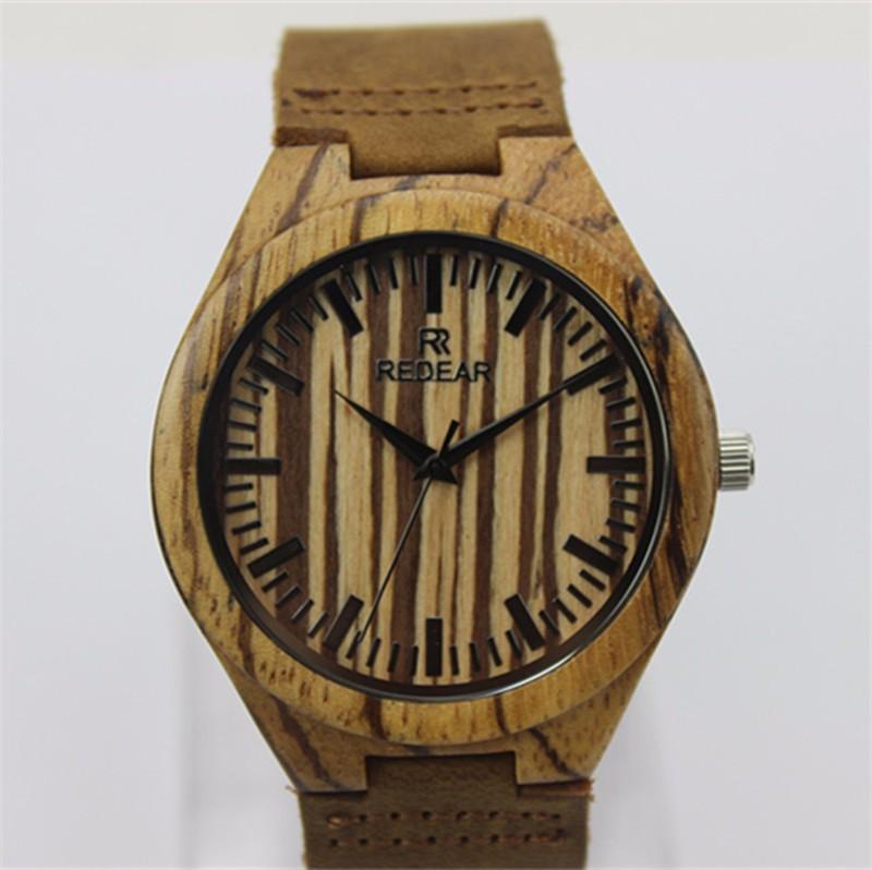 2016 HOT! новый Деревянный Мужская Мода Наручные Часы ремень Из Натуральной Кожи Аналоговый Дисплей Кварцевые Случайные Часы Relogio Masculino