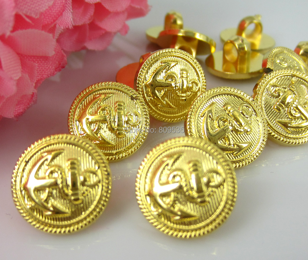 Free Shipping 300pcs Gold Anchor Pattern Plastic Sewing Buttons Fit Sewing 13.0mm(China (Mainland))