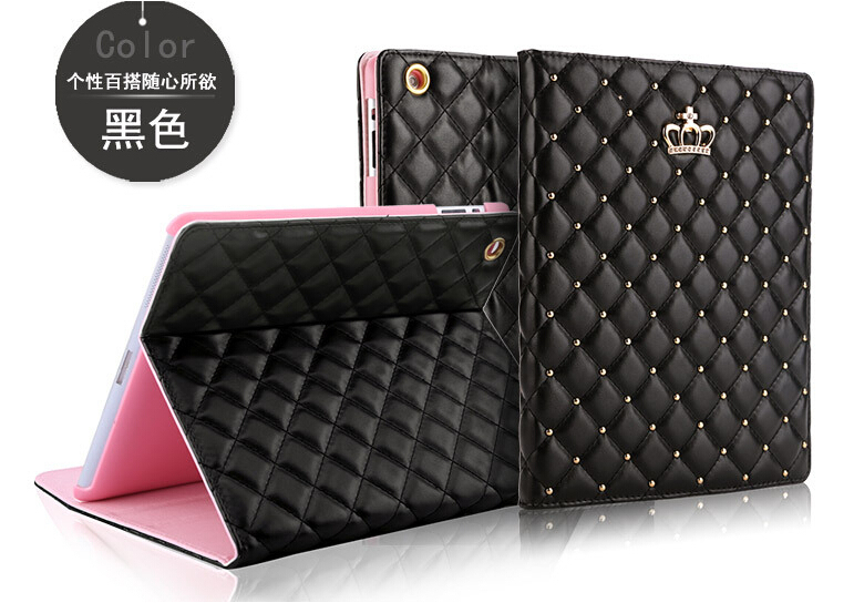 For Ipad Mini 1/2/3 Crown Diamond Leather Case For Ipad Luxury Soft Leather Stand Smart Tablet Cover For Ipad Mini(China (Mainland))