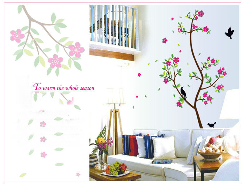 Wall Sticker Tree Warm Yuan/Roll Flower Printing Home Decor QT14 Wall Roll Living Room Bedroom TV Backdrop